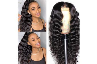 (25cm ) - BINF Hair Loose Deep Wave Lace Front Wigs for Black Women 25cm Brazilian Virgin Hair Wet and Wavy Human Hair Wig with Baby Hair Pre Plucked 150% Density 13x 4 Swiss Lace Frontal Natural Black Colour