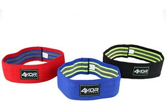 (3 Grippy Hip Band Set) - 4KOR Fitness Resistance Loop Band Set, Perfect for Crossfit, Yoga, Physical Therapy, and Booty Building