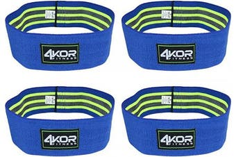 (4 Grippy Hip Band Set (Blue, all Large)) - 4KOR Fitness Resistance Loop Band Set, Perfect for Crossfit, Yoga, Physical Therapy, and Booty Building