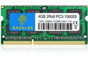 (1333 Sodimm, PC3-10600S 1x4GB Green) - Rasalas 4GB DDR3 1333MHz PC3-10600 SODIMM RAM Memory Compatible for Apple Early Late 2011 13/2.2cm MacBook Pro, Mid 2010 and Mid Late 2011 21.0.5cm iMac, Mid 2011 Mac Mini