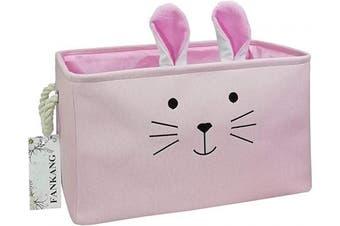 (Pink Rabbit) - FANKANG Rectangular Fabric Storage Bin Box Laundry Basket with Dinosaur Prints for Nursery Storage, Storage Hamper, Book Bag, Gift Baskets (Pink Rabbit)