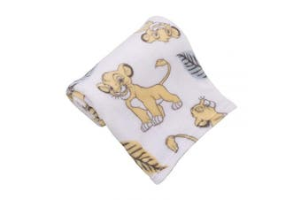 (White, Green, Yellow) - Disney Lion King Super Soft White, Yellow, Green Simba Leaves French Fibre Baby Blanket, White, Green, Yellow