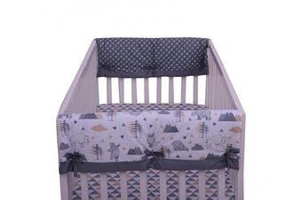 Bacati Woodlands Grey/Beige Neutral Cotton Crib Rail Guard Cover Set of 2 Small Side, Beige/Grey