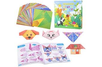 (96) - 96 Sheets Kids Origami Cartoon Kit- 96pcs Double Sided Origami Papers in 48 Styles+ Instructional Origami Book Fold Origami Birthday Children's Day Gifts for Kids Children Beginners Craft Lessons