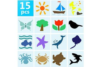 15 Pcs Chalk Stencil Set Plastic Animal Shapes Reusable Painting Templates Ocean Theme Pattern Flower Tree Drawing Stencil Templates for Kids Toddlers Inside Outsiad Classroom Crafts