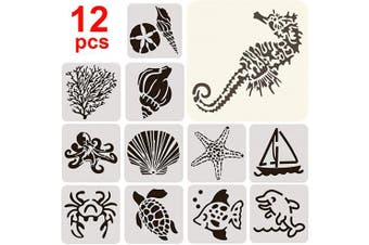 12Pcs Mixed Animals Shapes Shaped Stencils Set, 13cm x 13cm Painting Templates for Arts Card Making Journaling Scrapbooking DIY Furniture Wall Canvas WOD Floor Deco