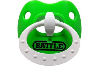 (Neon Green/White) - Battle Sports Science Binky Oxygen Lip Protector Mouthguard