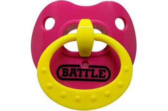 (Pink/Yellow) - Battle Sports Science Binky Oxygen Lip Protector Mouthguard