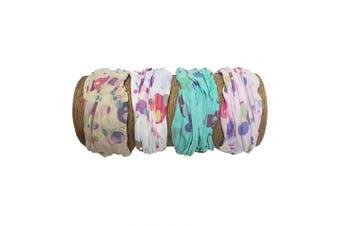 "(Retro Dot) - Bamboo Trading Company Boho Wide Headbands - Set of 4 Retro Dot Print Headwraps - 16"" L x 9"" W - Beige, Pink, White, Aqua Tones"