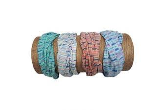 "(Fun Stripes) - Bamboo Trading Company Boho Wide Headbands - Set of 4 Fun Striped Print Headwraps - 16"" L x 9"" W - Coral, Pink, Blue, Aqua Tones"