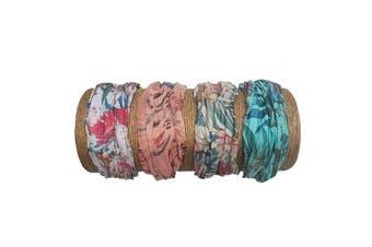"(Tropical) - Bamboo Trading Company Boho Wide Headbands - Set of 4 Tropical Print Headwraps - 16""L x 9""W - Coral, Aqua, Beige, Pink"