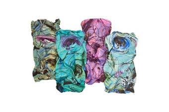 "(Brushstroke) - Bamboo Trading Company Boho Wide Headbands - Set of 4 Brushstroke Abstract Print Headwraps - 16"" L x 9"" W - Purple, Blue, Aqua, Cream Tones"