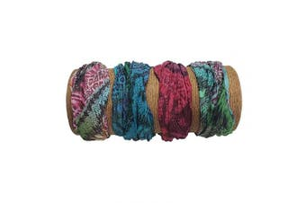 "(Wild Tie Dye) - Bamboo Trading Company Boho Wide Headbands - Set of 4 Wild Tie Dye Print Headwraps - 16"" L x 9"" W - Red, Green, Blue, Aqua Tones"