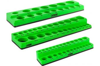 (3pc Green SAE Magnetic Socket Organiser Set, Green) - ARES 60037-3-Piece Green SAE Magnetic Socket Organiser Set - Includes 0.6cm , 1cm , and 1.3cm Socket Holders - Holds Standard Size and Deep Size Sockets - Keeps Your Tool Box Organised