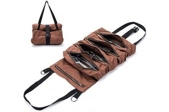 (Brown) - Super Tool Roll, Large Wrench Roll, Big Tool Roll Up Bag, Waxed Canvas Tool Organiser Bucket, Tool Roll Up Pouch, Handy Small Tools Tote Carrier,Tool Pouch Sling, Car Back Seat Organiser (Brown)