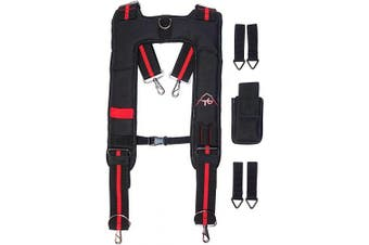 Tool Belt Suspenders- Heavy Duty Work Suspenders for Men, Adjustable, Comfortable and padded -Includes Tool Belt Loops, Phone Pouch, Pen holder by ToolsGold