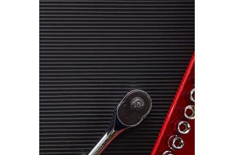 (46cm  x 1.8m, Black V-Groove) - Resilia Premium Tool Box Liner Utility Mat - Garage Drawer & Shelf Organisation, Workbench Storage, Heavy Duty Ribbed Plastic, Made in the USA, Black V-Groove, 46cm x 1.8m