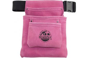 """GRAINTEX SS2033 3 Pocket Nail & Tool Pouch Pink Colour Suede Leather with 2"""" Webbing Belt for Constructors, Electricians, Plumbers, Handymen"""