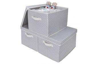 (Extra Large, Light Gray/White) - GRANNY SAYS Storage Bin with Lid, Kid's Storage Box, Toy Storage Basket Nursery Storage Containers with Lids, Extra Large, Grey/Beige, 3-Pack