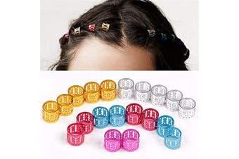 GBSTORE 100 Pcs Dreadlocks Hair Braiding Cuffs Beads Multi-Colour Aluminium Hair Braiding Clips Metal Hair Cuffs Braid Rings Braiding Hair Decorations