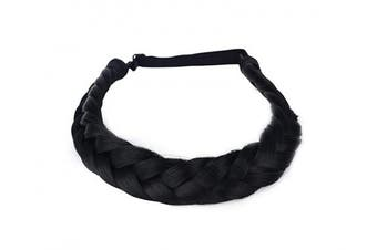 (A01-2) - Coolcos Hair Braid 5 Strands Braids Hair Headbands Plaited Braided Elastic Synthetic Chunky Stretch Wig Women Beauty Accessory (A01-2)