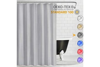 (180cm W*210cm H, Grey) - Kikcoin Fabric Shower Curtain, Polyester Fabric Shower Stall Curtains for Bathroom, Waterproof Shower Curtain Liner with Hotel Grade,Machine Washable,180cm x 210cm ,Grey