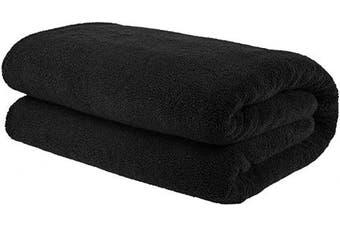 (Oversize Bath Towel 100cm  x 200cm , Coal Black) - American Bath Towels, 650 GSM Premium Hotel and Spa Quality Organic Turkish Cotton, 40x80 Oversized Soft and Absorbent Bath Sheet Towel, Coal Black