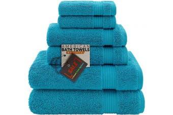 (6-Piece Towel Set, Aqua Blue) - American Bath Towels, 2 Washcloths, 2 Hand Towels, 2 Bath Towels, Soft & Absorbent 600 GSM Premium Hotel & Spa Quality 6 Piece Genuine Turkish Cotton Bathroom Towel Set, Aqua Blue
