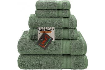 (6-Piece Towel Set, Green) - AmericanBathTowels 2 Washcloths, 2 Hand Towels, 2 Bath Towels, Soft & Absorbent 600 GSM Premium Hotel & Spa Quality 6 Piece Genuine Turkish Cotton Bathroom Towel Set, Green