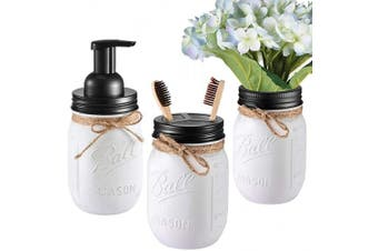 (Black) - Andrew & Sarah Mason Jar Bathroom Set(3 Piece)-Foaming Soap Dispenser, Toothbrush Holder,Flower Vase,for Wedding House Decor Countertop and Vanity Organiser Bathroom Kitchen Farmhouse Décor (Black)