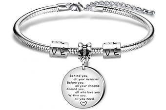 Inspiration Bracelet Gift,Adjustable Silver Pendant Snake Bracelet For Women Lady Girl Gift