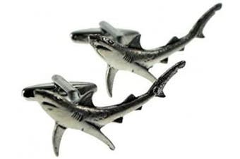 Ashton and Finch English Made Blue Shark Pewter Novelty Gift Cufflinks