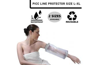 (Size L-XL) - PICC Line Waterproof Plaster Cast & Dressing Cover | Protector | Arm Sleeve | Also for Bandages & Plasters | Protection During Shower & Bath | Soft Aperture | Latex Free | Reusable | Size L-XL