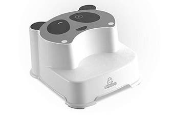 (Gray) - Babyloo Panda Step Stool Easy to Use Potty Training Stool for Kids, Great for Potty Training, Bathroom, Bedroom, Playroom, Kitchen, and Living Room (Grey)