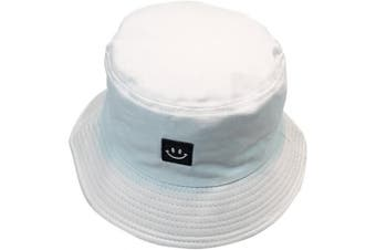 (Smile in White) - byou Bucket Hat,Fishing Hat Soft Cotton & Polyester Fabric Unisex Wide Sun Cap Windproof for Hiking Camping Travelling Fishing 56-58cm