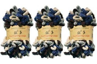 (Hephaestus) - BambooMN Finger Knitting Yarn - Fun Finger Loops Yarn - 100% Polyester - Hephaestus - 3 Skeins