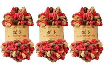(Janus) - BambooMN Finger Knitting Yarn - Fun Finger Loops Yarn - 100% Polyester - Janus - 3 Skeins