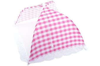 Collapsible Food Umbrella Cover Pop Up Dome Mesh Fly Wasp Insect Net BBQ Kitchen Tool 12.5 * 31cm (Pink)
