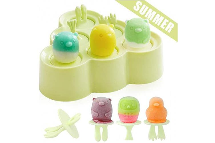 (Green) - Ice Lolly Moulds Silicone, Mini Animal Popsicle Mould for Children, Ice Pop Moulds, Popsicle Maker Set, LFGB Certified BPA Free Ice Cream Moulds, for Baby Kids DIY Popsicle Homemade