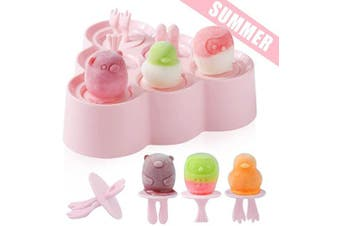(Pink) - Ice Lolly Moulds Silicone, Mini Animal Popsicle Mould for Children, Ice Pop Moulds, Popsicle Maker Set, LFGB Certified BPA Free Ice Cream Moulds, for Baby Kids DIY Popsicle Homemade