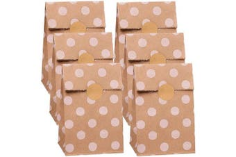 Cooraby 30 Pieces Polka Dot Paper Bags Brown Paper Bags Kraft Paper Bags Mini Paper Bags Candy Treat Bags with 36 Pieces Label Stickers for Wedding Kid's Birthday Party Favour