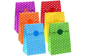 Cooraby 30 Pieces Mini Dots Paper Bags Craft Paper Bags Flat Bottom Kraft Party Bags Lunch Paper Bags Grocery Bags with 72 Pieces Label Stickers, 6 Colours