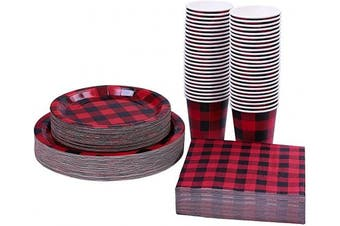 Aneco 200 Pieces Buffalo Plaid Themed Party Supplies Party Tableware Disposable Paper Plates Paper Cups and Napkins for 50 Guests