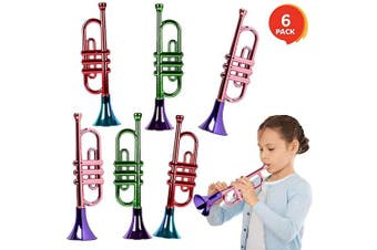 ArtCreativity 33cm Metallic Trumpets, Set of 6, Fun Plastic Musical Instruments Noise Makers for Parties and Events, Music Toys for Kids, Cool Birthday Party Favours for Boys and Girls