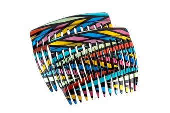 (Rainbow Stripes - Seller) - Charles J. Wahba Side Comb (Paired) - 13 Teeth - (Rainbow Stripes Colour) - Handmade in France