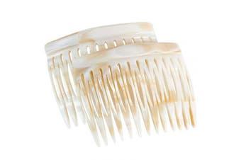 (Bone Marble - Seller) - Charles J. Wahba Side Comb (Paired) - 13 Teeth - (Bone Marble Colour) - Handmade in France