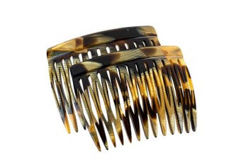 (Toffee Marble - Seller) - Charles J. Wahba Side Comb (Paired) - 13 Teeth - (Toffee Marble Colour) - Handmade in France