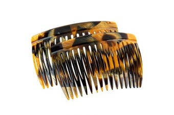 (Toffee Marble) - Charles J. Wahba Side Comb (Paired) - 17 Teeth - (Toffee Marble Colour) - Handmade in France