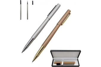 (Gold&Silver) - Accod 2 Pack Classic Fine Nib Business Metal Ballpoint Pen Signature Pen Rollerball Gel Pen High-end Gift Box with Two Replaceable Refills for Office Family and Business Partners (Gold & Silver)