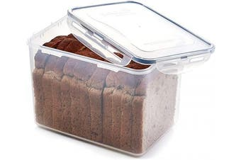 (Rectangle - 16.5 cup - Great for Beans) - Lock & Lock Rectangular Storage Container - Clear/Blue, 3.9 L